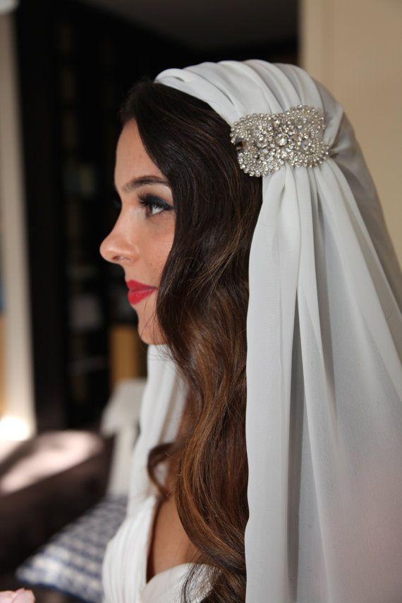 juliet cap veil chiffon veil wedding veil crystal applique juliet veil cap veil vintage art deco veil fingertip juliet cap