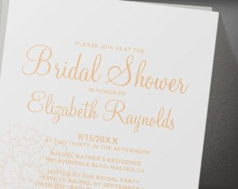Custom Modern Peach Bridal Shower Invitation
