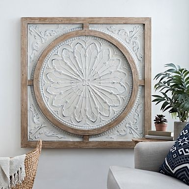 j medallion t pin wall art carved wood decor made india maxx in