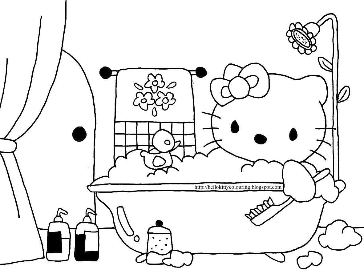 Hello Kitty In The Bath Tub To Colour In Hello Kitty Coloring Hello Kitty Hello Kitty Bathroom