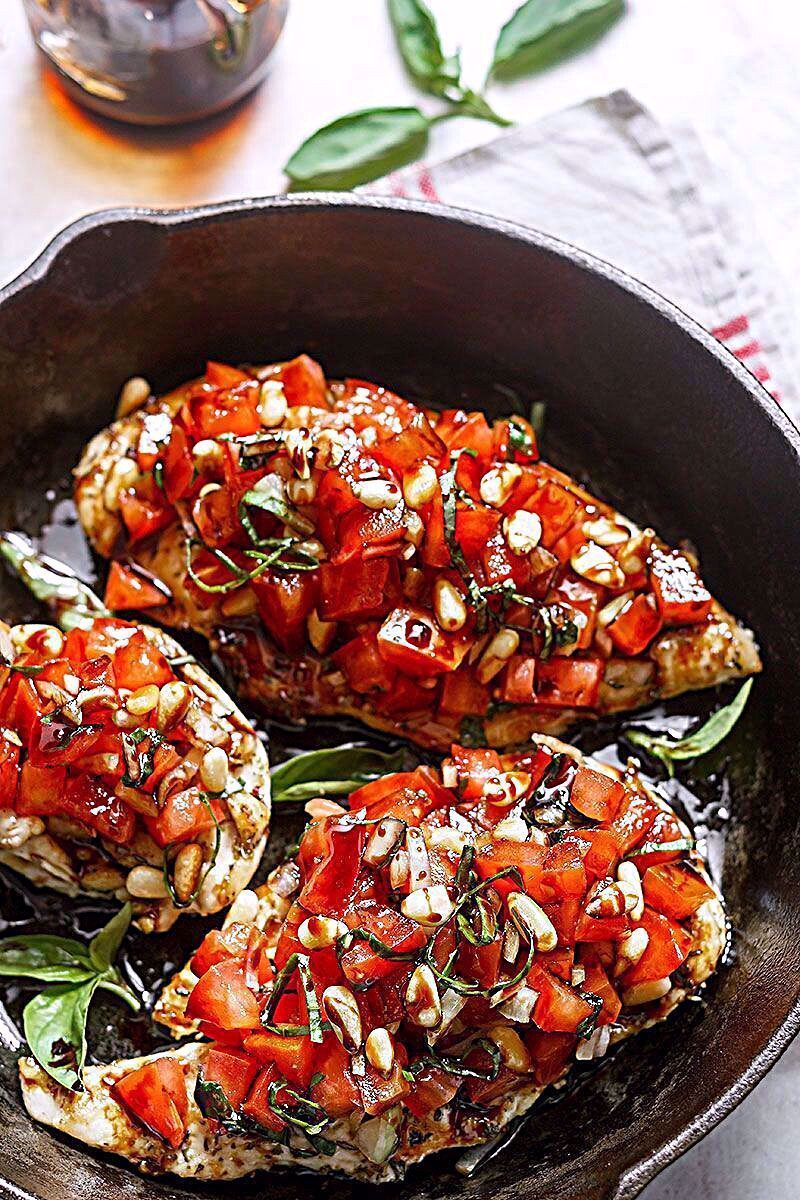 Grilled Bruschetta Chicken These grilled bruschetta chicken are so amazing–with fresh tomatoes, basil, pine nuts and a tangy sweet balsamic glaze on top, it is a winner for a weeknight dinner for two. Not only it is quick t… - These grilled chicken bruschetta are so amazing–with fresh tomatoes, basil, pine nuts and a tangy sweet balsamic glaze on top, it is a winner for a weeknight dinner for two. eatwell101.com #FOODPOST #foodtour #foodfood #instadaily #chicken #foodie #foodinstagram #instagram