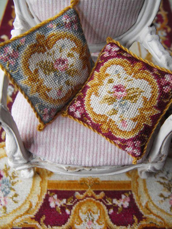 Dollshouse miniature plum pillow / cushion by nicolamascall