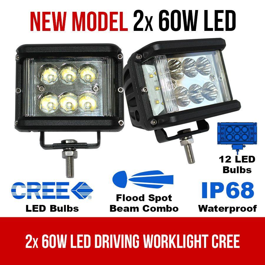 2x 60w led driving worklight flood spot beam cree 12v 24v lamp light offroad 4x4
