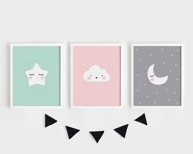 Printable Nursery Art Set of 2 Poster Baby room Wall art Kids room ...