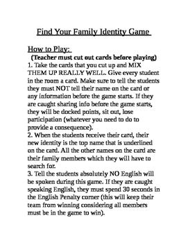 Find Your Family Identity Game Foreign Language Game Foreign