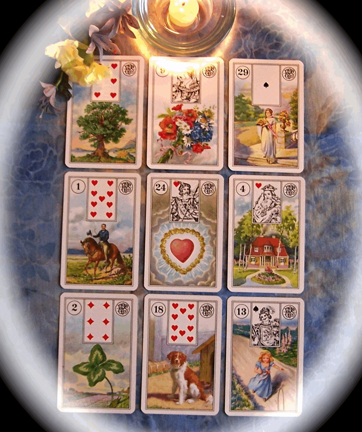 Lenormand Oracle Cards Lenormand Square Of Nine Reading