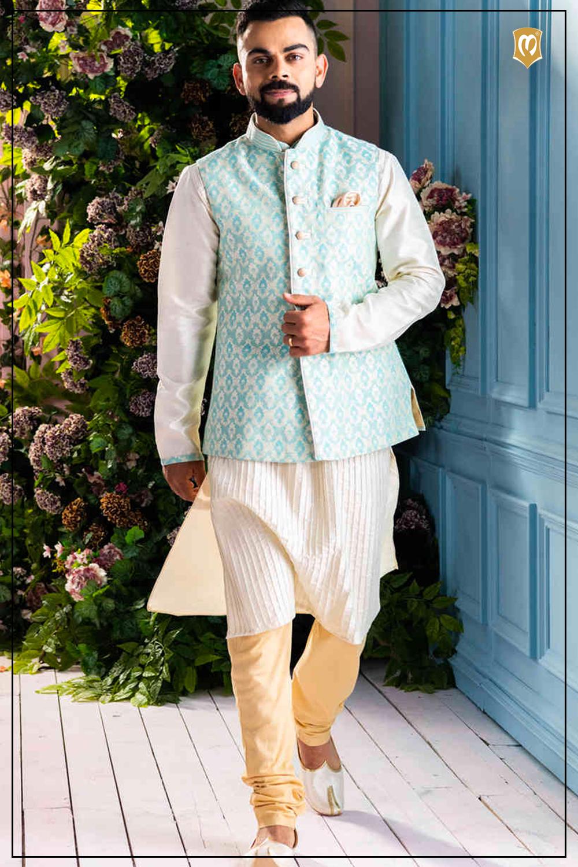 Light Blue Jacket With Kurta Set Wedding Kurta For Men