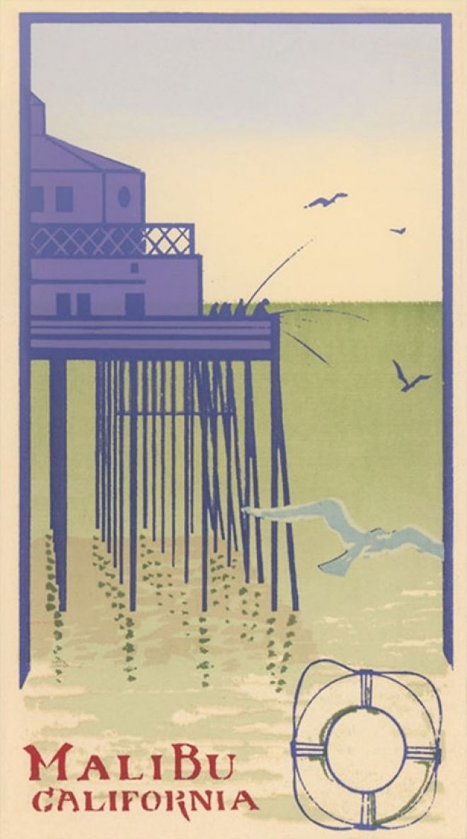 vintage travel poster for Malibu California