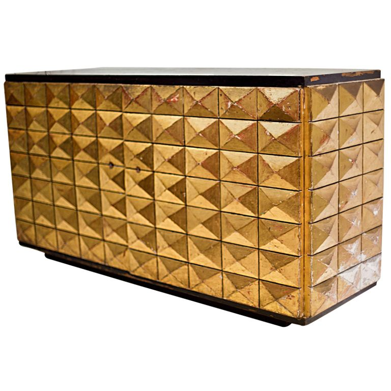 Stucco 1950u0027s Cabinet/console Pyramidal Geometric Design With Gold Leaf.  Barbara Barry Knocked This