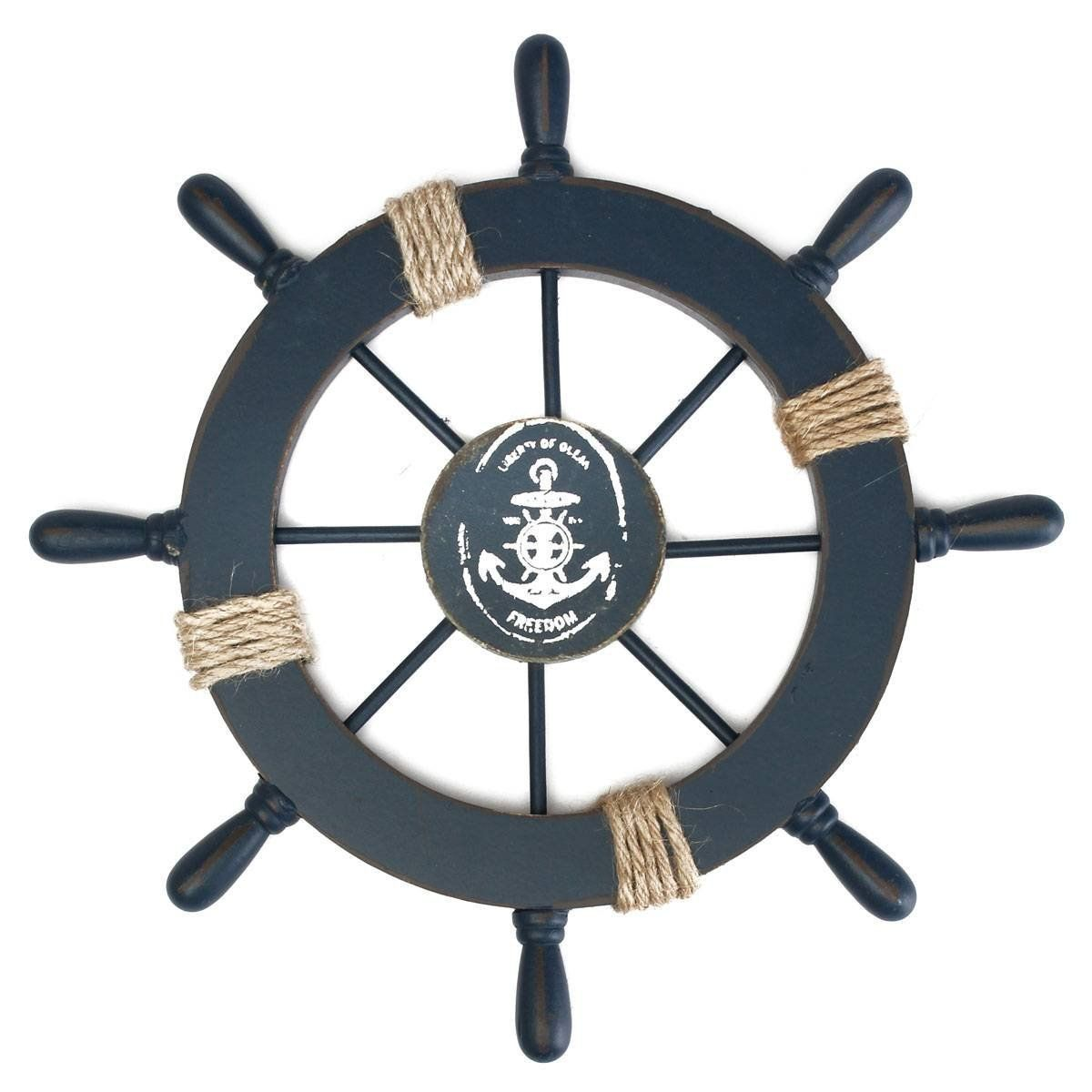 Mediterranean Nautical Wooden Boat Ship Wheel Helm Home Wall Party Decoration Dark Blue Ship Wheel Wooden Ship Wooden Wheel