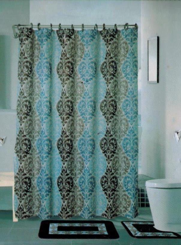 15pc Brown Blue Embroidery Bathroom Bath Mats Set Rug Carpet Shower Curtain Rugs On Carpet Bath Mat Sets