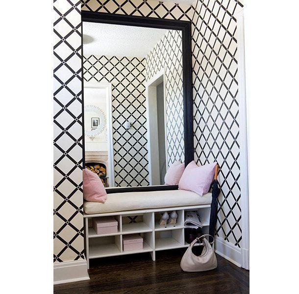 Krista Rhombus Cross Line pattern Square Geometric Couture Designer Pattern Allover Stencil for Walls Decor better than Vinyl