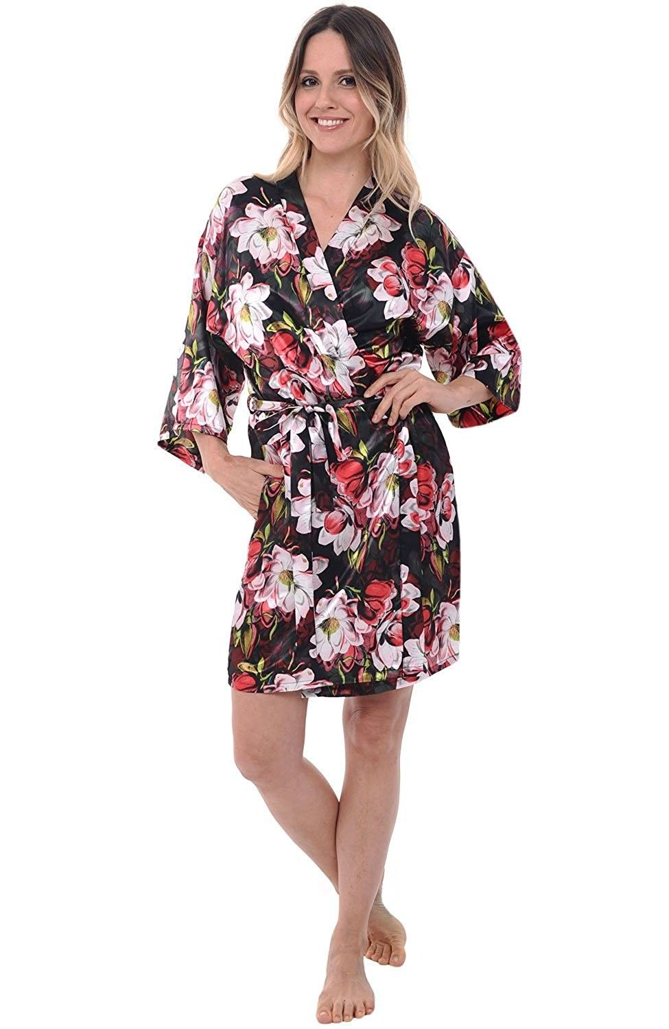 e34ccb971a Womens Satin Robe- Mid-Length Dressing Gown - Classic Colors and ...