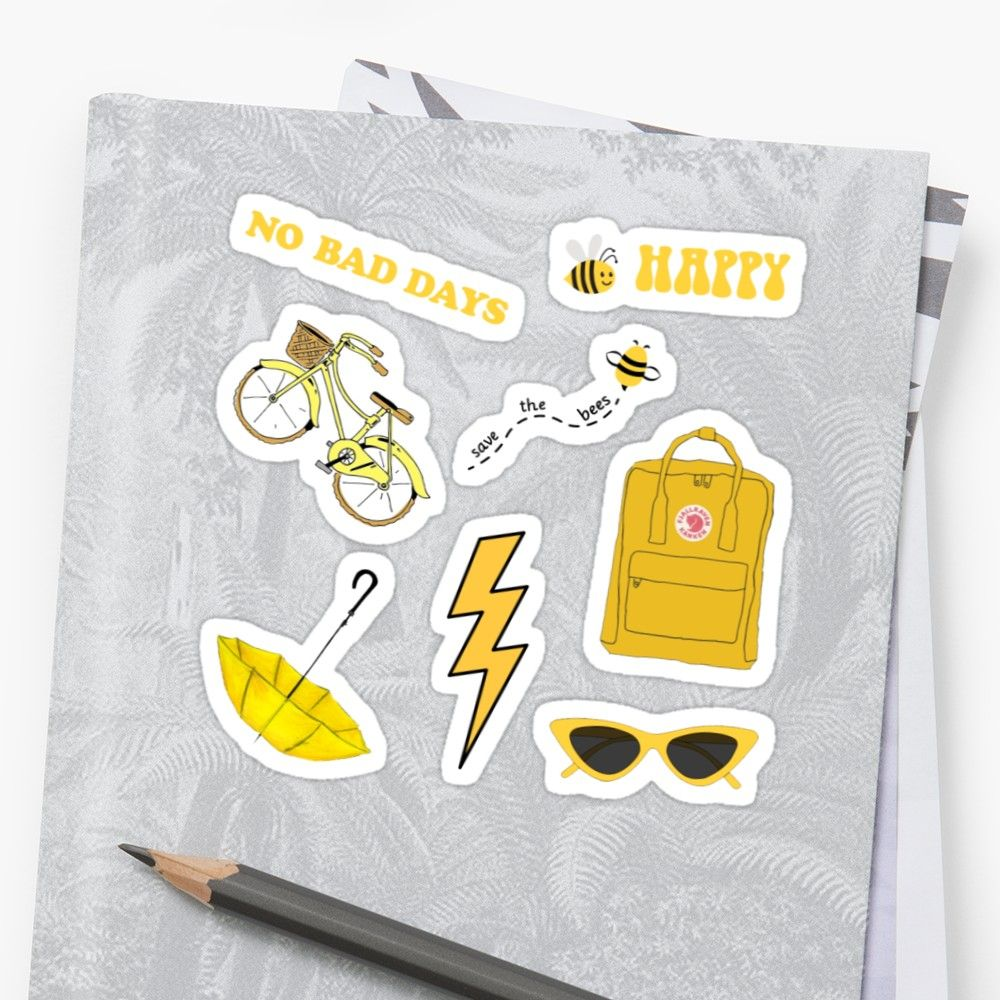 Yellow sticker pack in size medium on red bubble Yellow