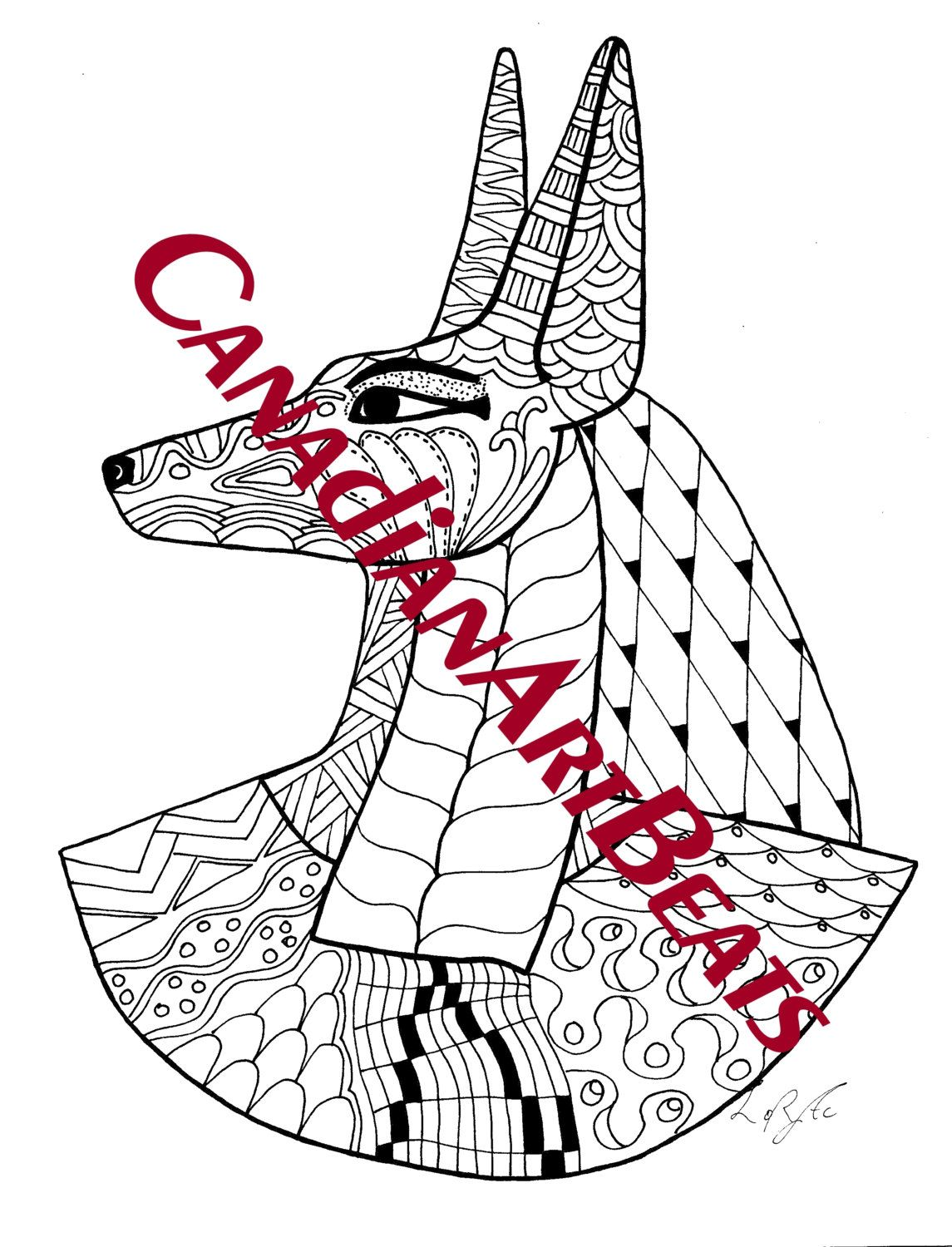 Anubis Egyptian God Of The Afterlife Art Coloring Page