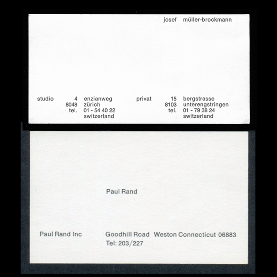 Joseph Mller Brockmann Vs Paul Rand Biz Cards Your Business Cards