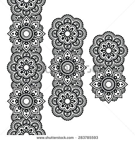 Mehndi, Indian Henna tattoo long pattern, design elements - stock vector