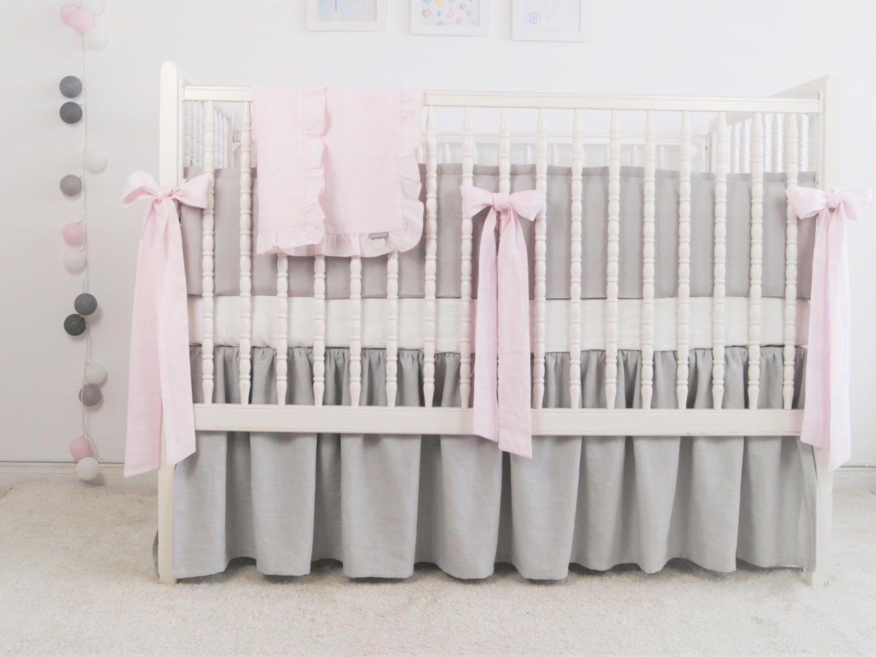 Gray crib  bedding - linen crib bedding - gathered skirt and 4 side bumper - girl crib bedding