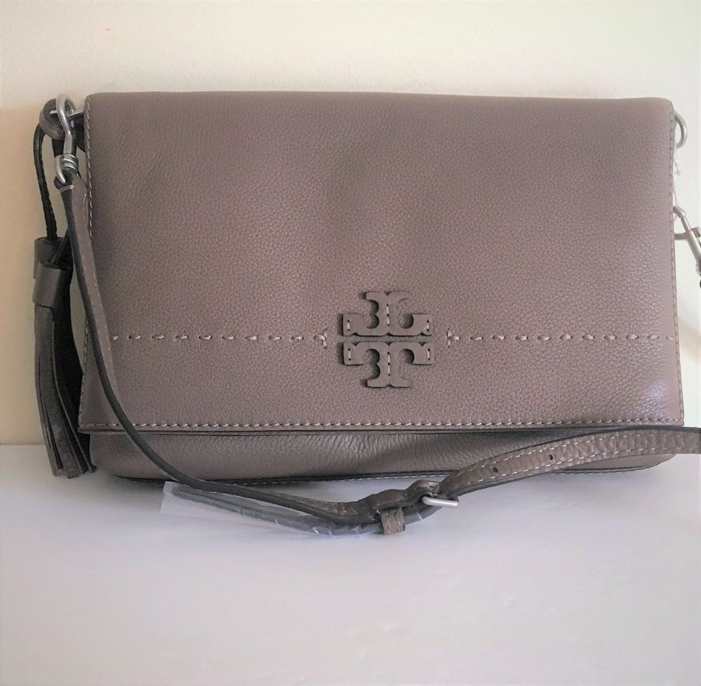 c54d5a0e6d7d Tory Burch McGraw Foldover Crossbody ~ Silver Maple Leather Bag ~ New NWT   398  ToryBurch  MessengerCrossBody