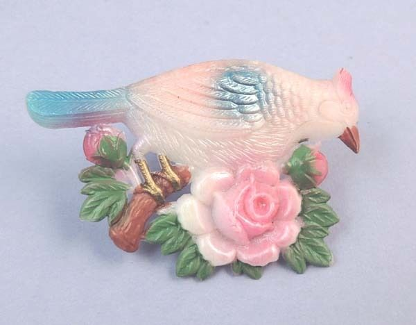 Vintage 1940's Colorful Celluloid Bird Floral Hand Painted Brooch