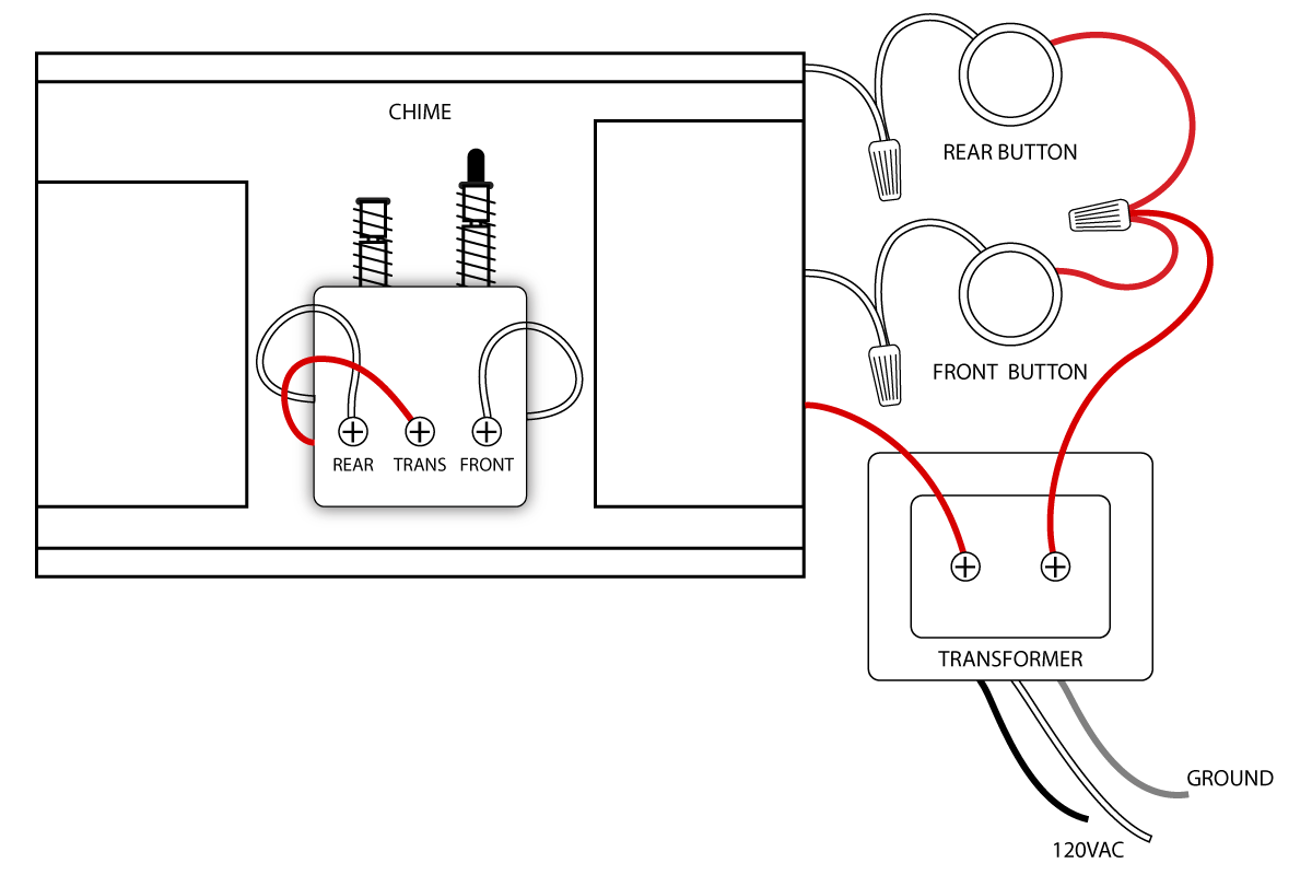 doorbell wiring diagrams doors and house rh pinterest co uk Wire Two Doorbells to One Transformer Two Button Wired Doorbell Diagrams