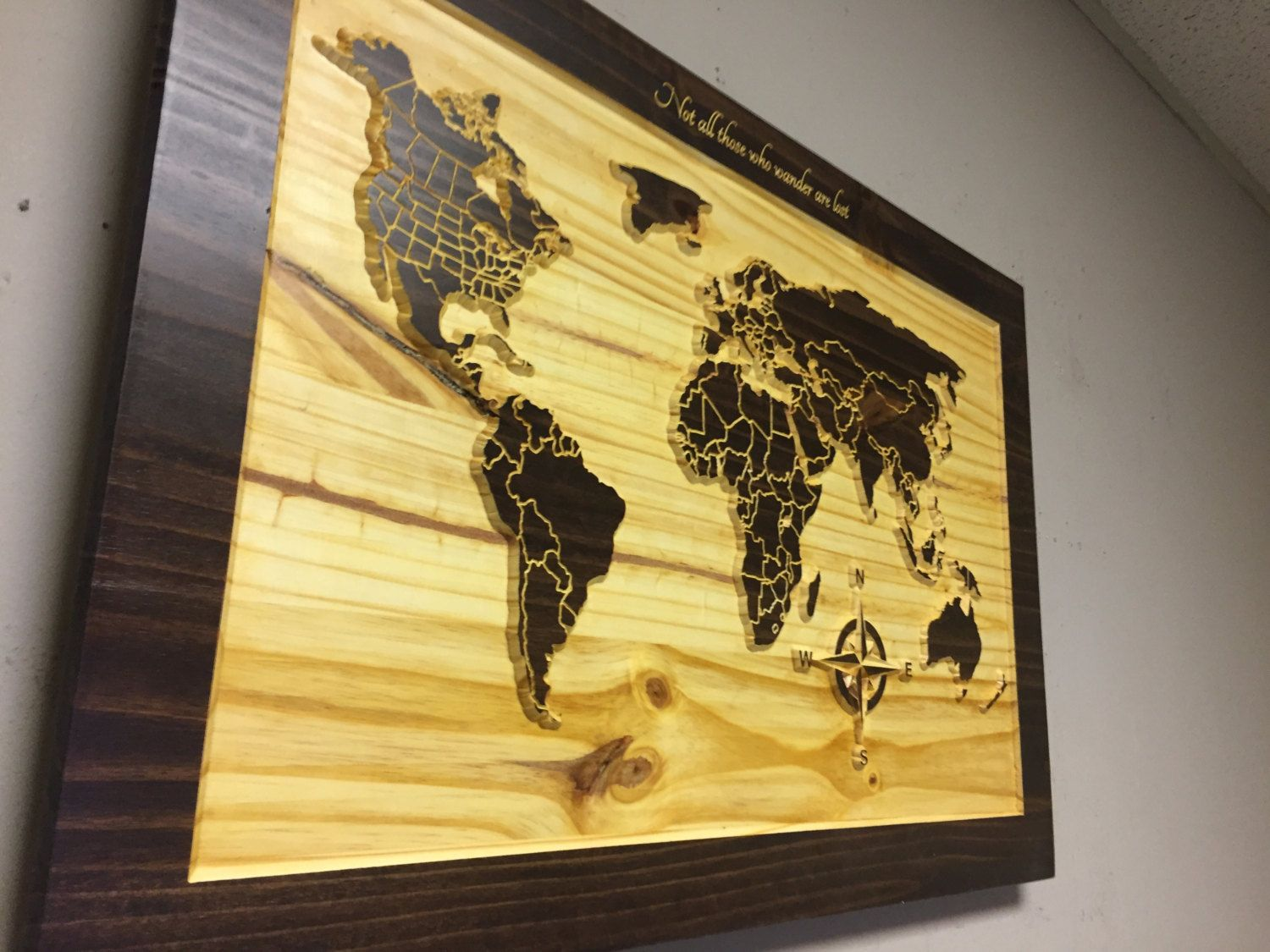 5th Anniversary, Wood Wall Art, World map wall art, carved wooden ...