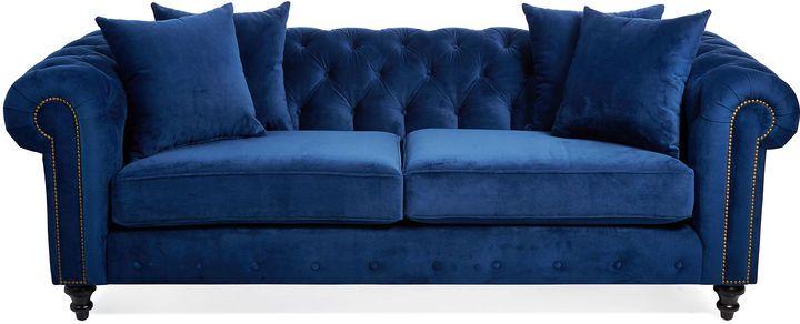 One Kings Lane Saretta 72 Tufted Velvet Sofa, Blue