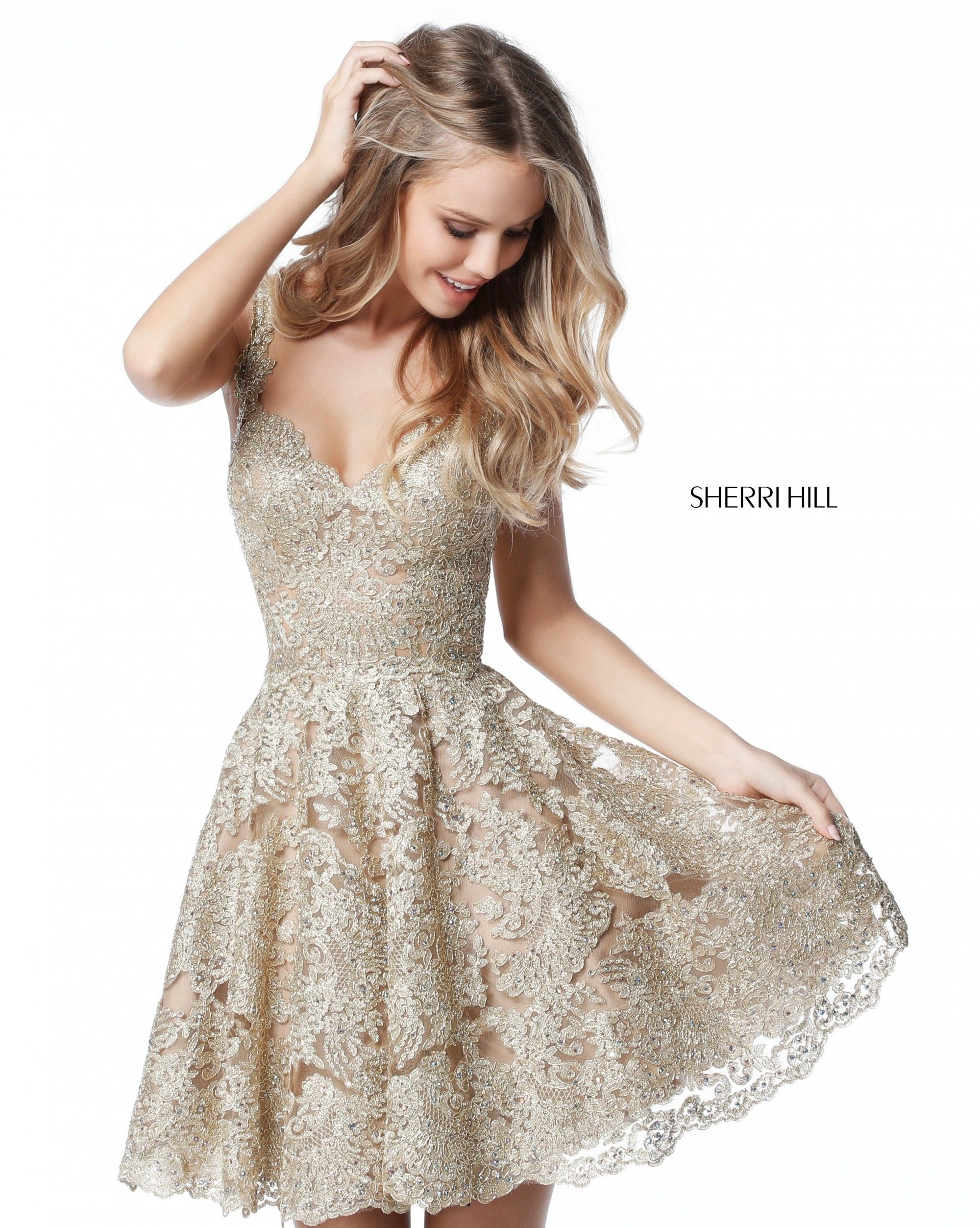 aec3f5728f46 Experience a modern fairy tale in Sherri Hill 51521. This romantic party  dress has a sheer lace bodice, with a sweetheart neckline, opaque bra cups,  ...