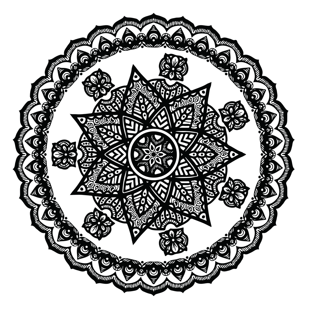 Free Floral Mandala Coloring Page Print or Download | Babadoodle ...