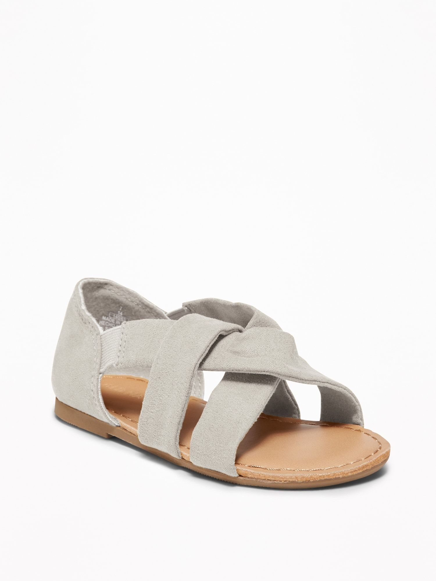 667d5d6518ac Slouchy Faux-Suede Cross-Strap Sandals For Toddler Girls