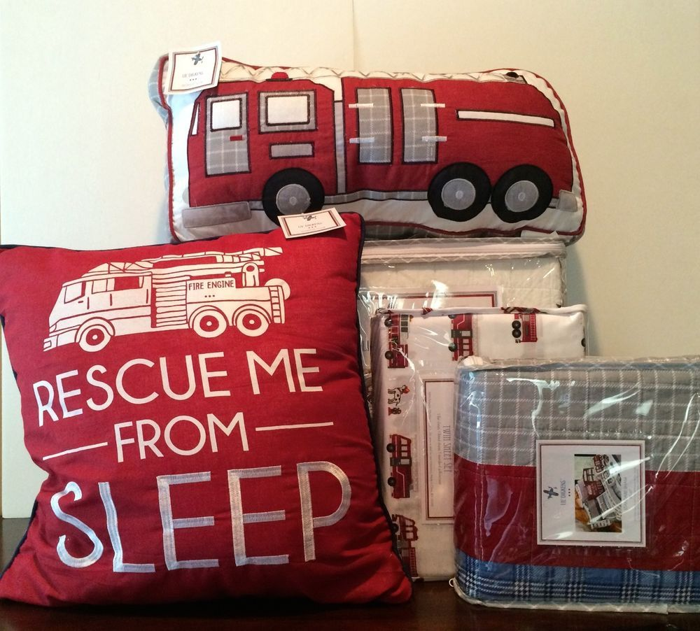 7 pc kids twin set lil dickens fire truck bedding police