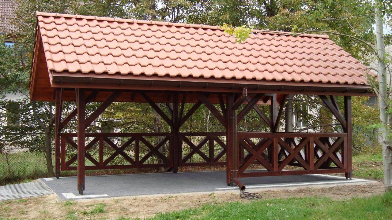 Wiata Garazowa Altana Drewniana Drewna Garaz Backyard Patio Designs Patio Design Shade House