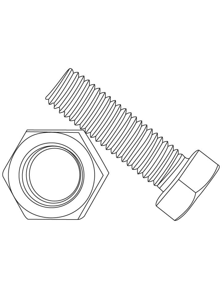 Nuts And Bolts Coloring Pages by