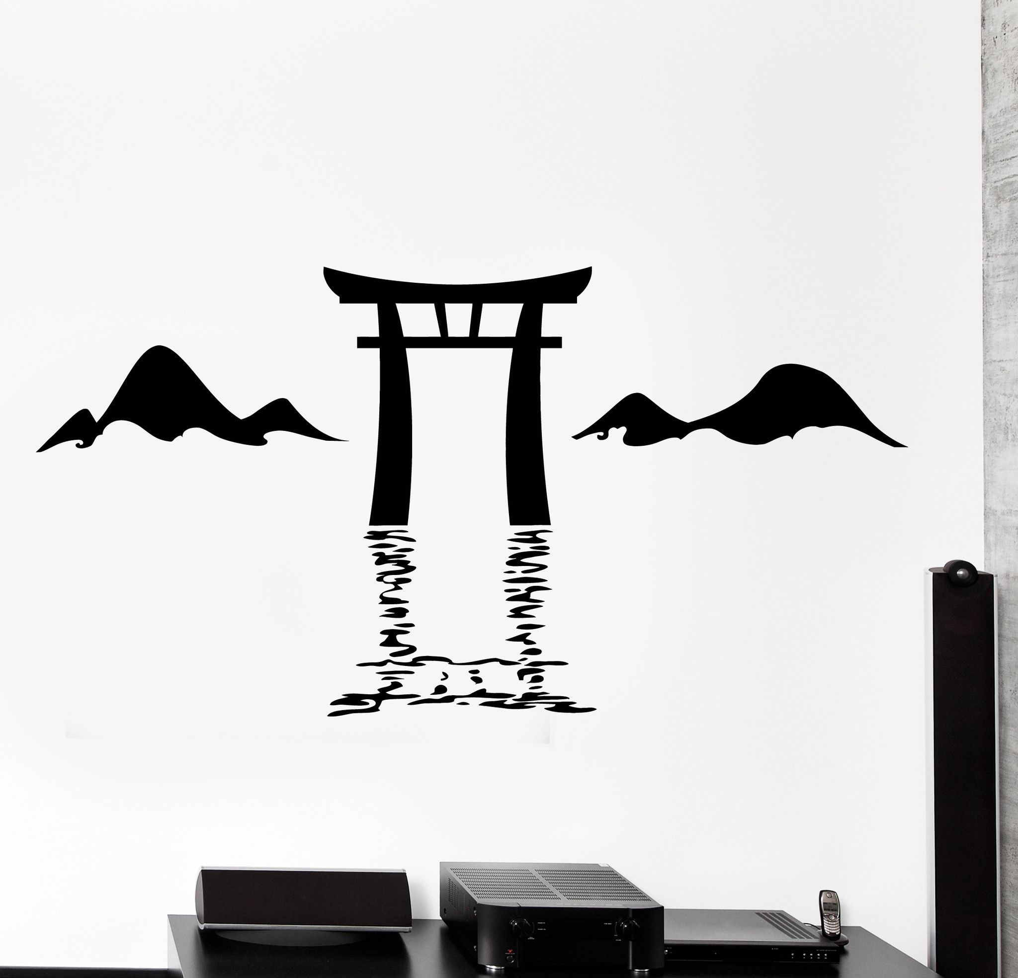 Wall vinyl decal torii itsukushima shrine japan japanese gates home decor z4437