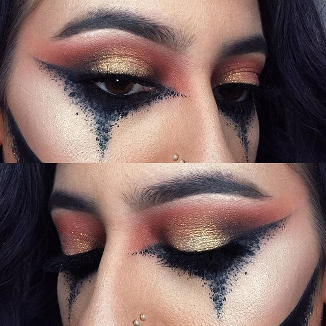 yay Halloween is so exciting! I just wish I had an excuse to trick or treat again anyone wanna let me borrow their kid? Do dogs count?? Details for this: the dots are a mix of Tarteist gel liner and The Balm matte liquid liner and they were SO inspired by my❤️ @juscallmetara // Make Up For Ever matte orange and brown eyeshadows // Mac orange eyeshadow // Tartelette palette // MUFE star powder 902(white yellow)   iridescent glitter // Smashbox XRated mascara   @velourlashesofficial ...