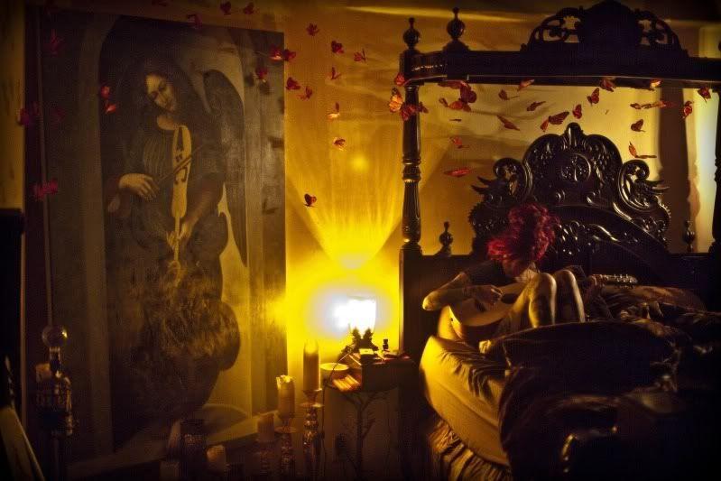Kat Von D's bedroom. Love her bed & the butterflies ...