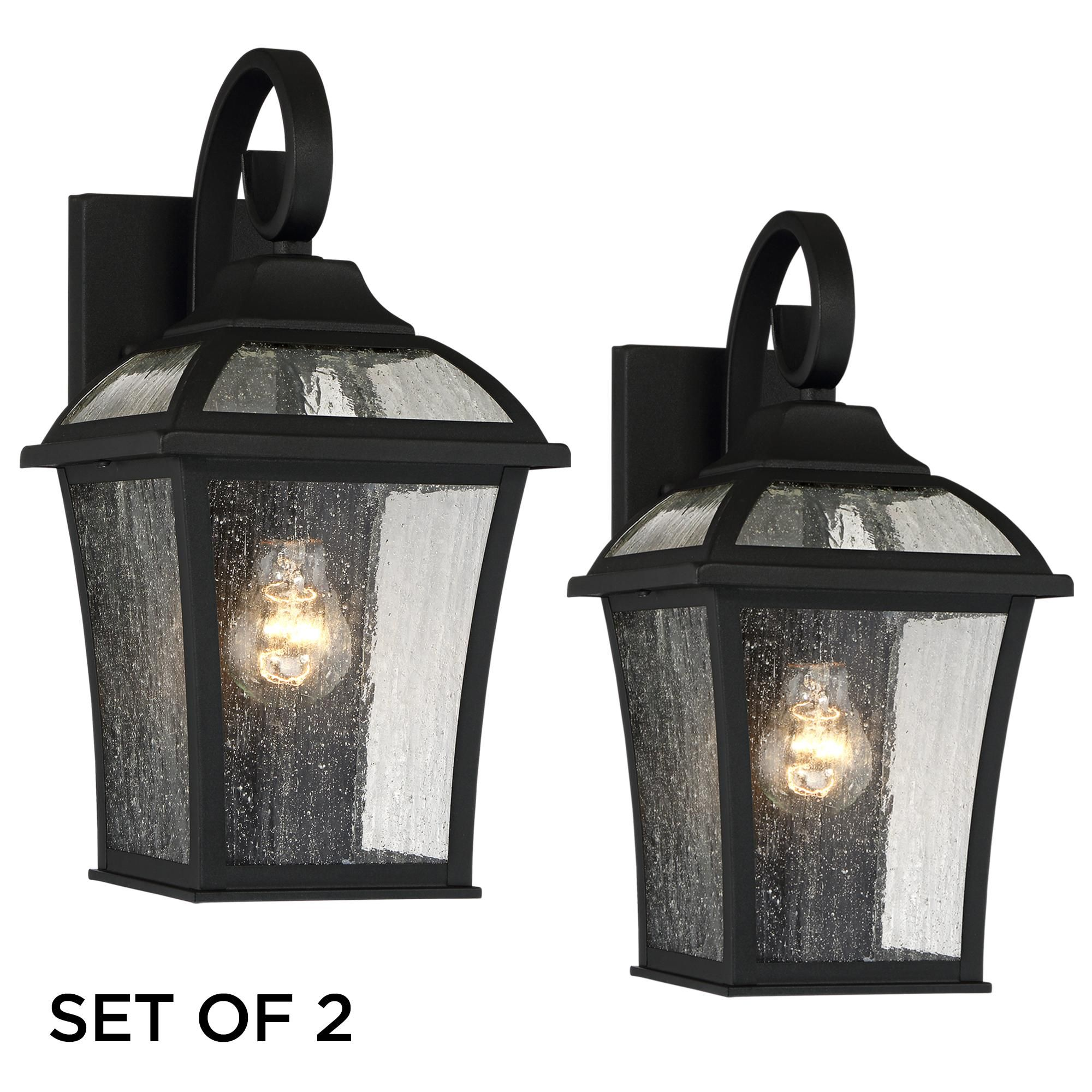 Set Of 2 Mosconi 15 High Black Outdoor Wall Lights 1n896