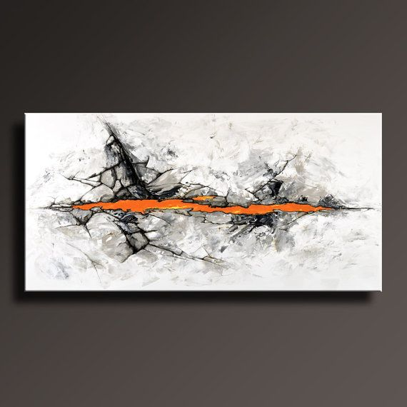 72 Abstract Painting Black White Gray Orange Painting