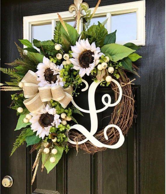Photo of Sunflower Wreath, Front Door Wreath, Farmhouse Wreath, Wreath with Monogram, Year Round Wreat…