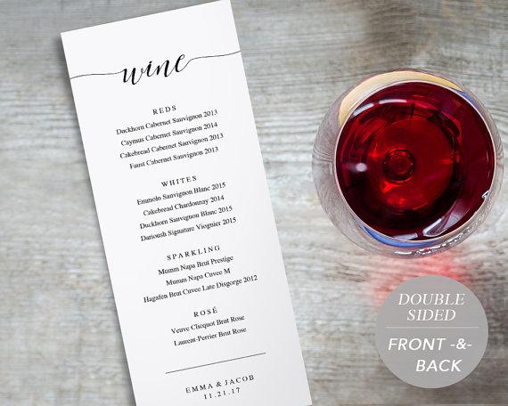 Wine Menu Printable Wedding Wine List by SmittenPaperProps Menus - sample wine menu template