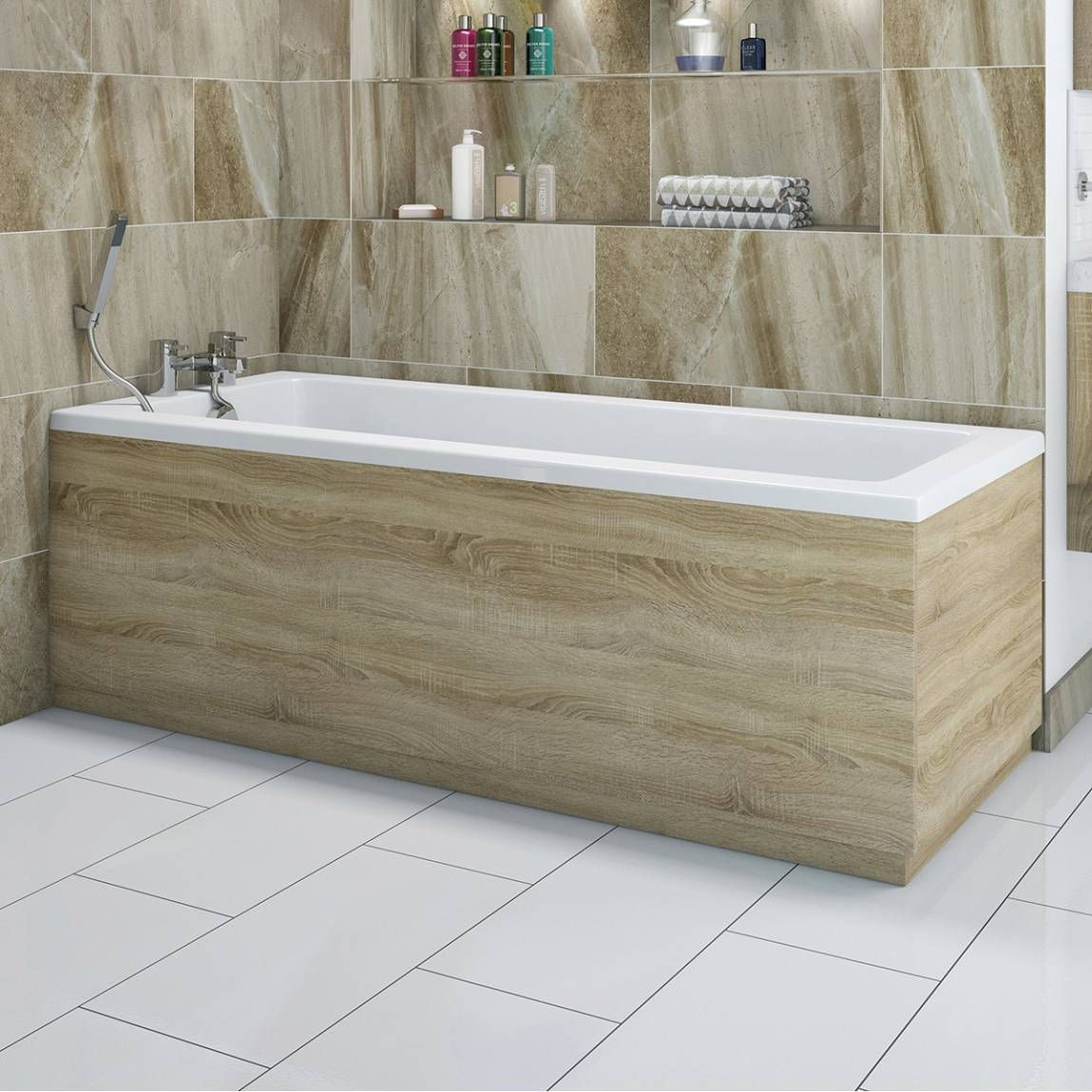 Drift oak wooden bath front panel 1700mm bath side panel for Bathroom designs no bathtub