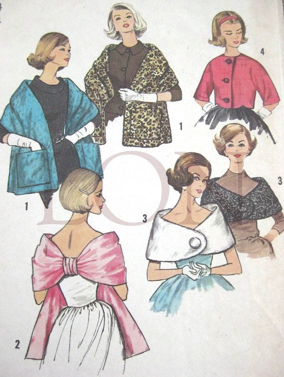 1950s 60 Simplicity sewing pattern 4216 Misses Stoles capelet and ...