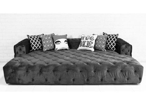 Chill Out In This Oversized Fully Tufted Sofa/bed Finished In Mystere  Cosmic Velvet.