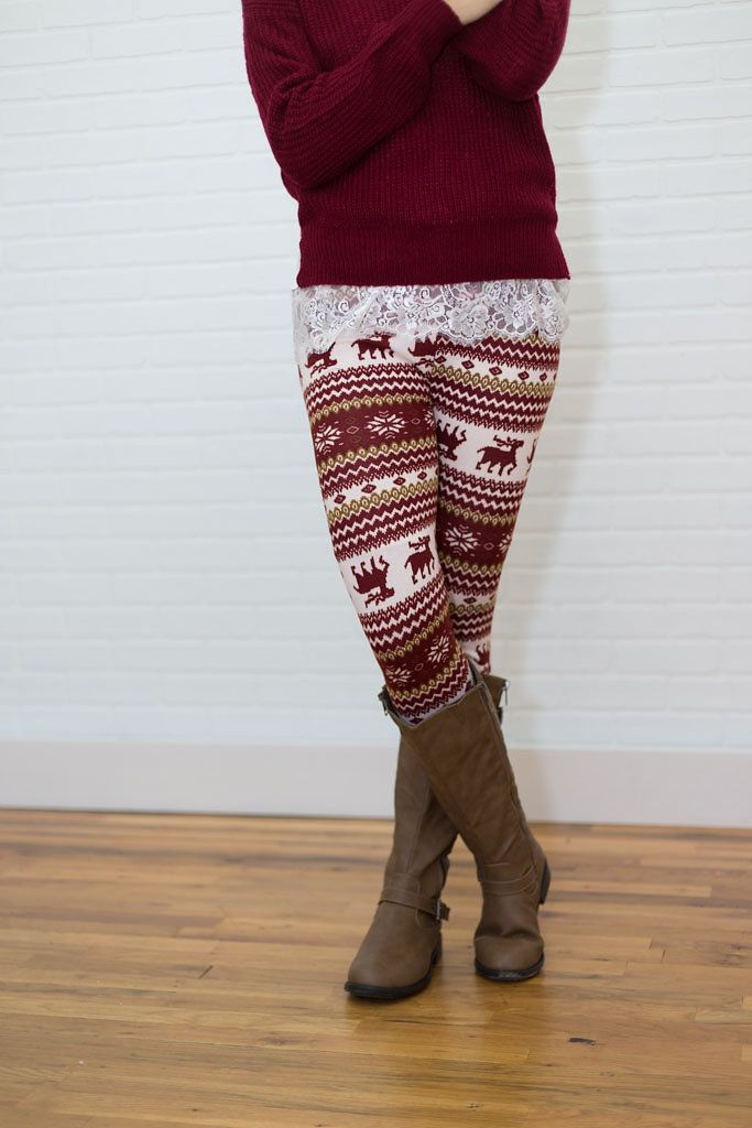 Christmas red and green Leggings. Reindeer leggings, $8.00 (http ...