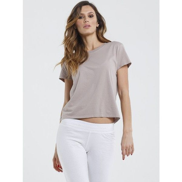 Boxie Tees Short Sleeve Boxy Crew Neck Tee ($42) ❤ liked on Polyvore featuring tops, t-shirts, sand, crewneck tee, ribbed tee, boxy t shirt, cap sleeve t shirt and boxy tee