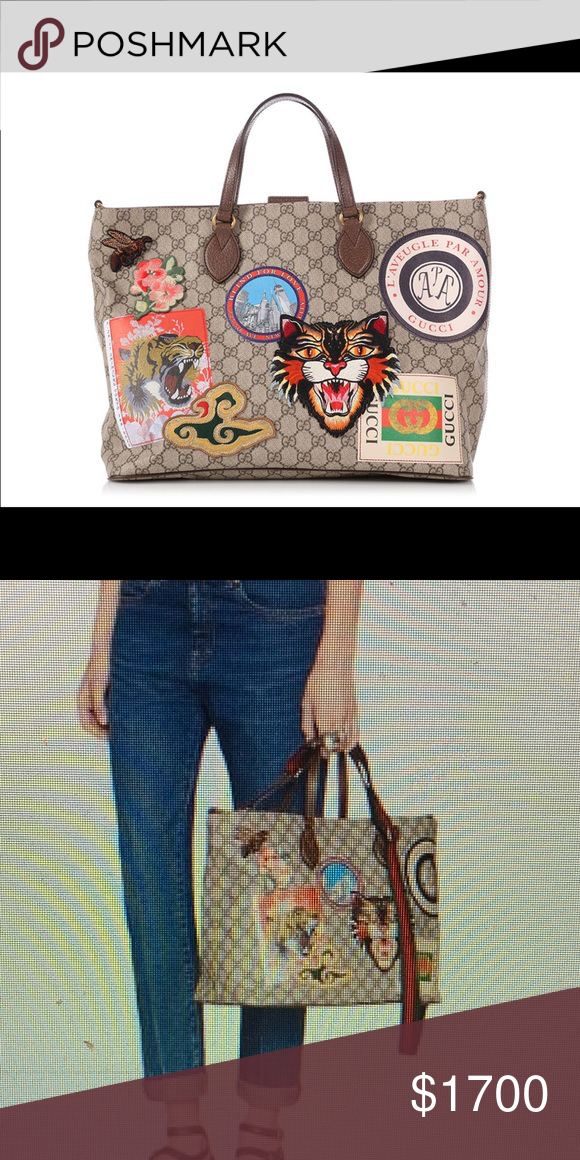 e00d75848754a5 Used Gucci Courrier soft GG supreme tote Gorgeous, beige GG supreme with  brown leather trim. Brass hardware. Embroidered patches.