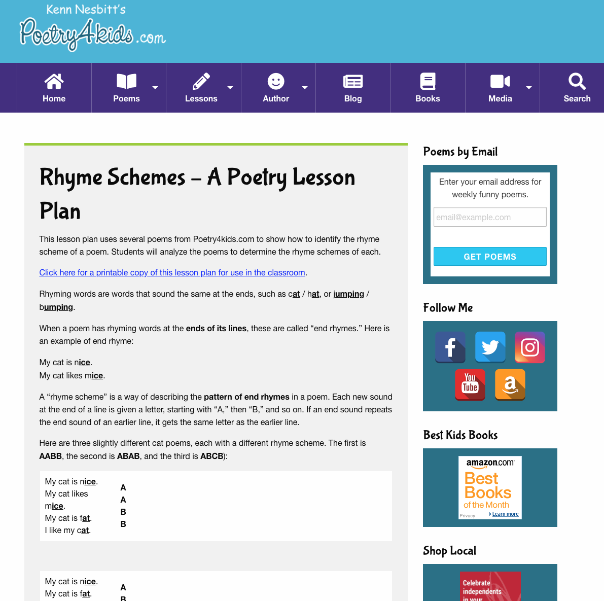 Rhyme Schemes Lesson Plan Lesson Plan For 3rd