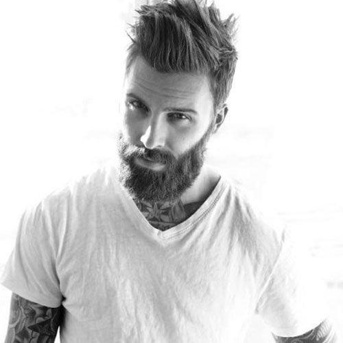 Captivating Manly Haircut And Thick Beard   Short Sides With Long Spiked Hair