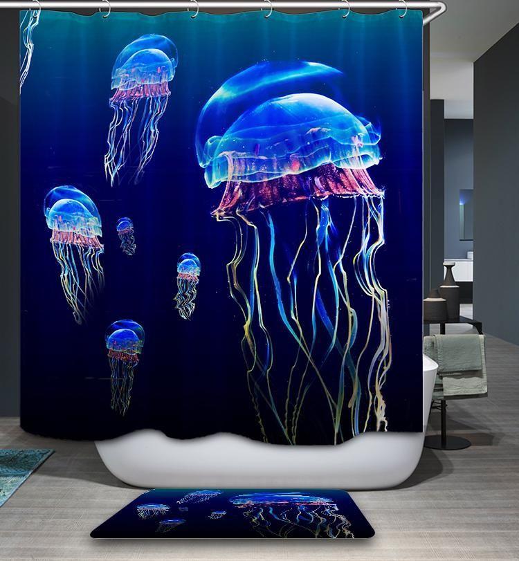 Ocean Magic Creatures Colorful Jellyfish Shower Curtain Bathroom