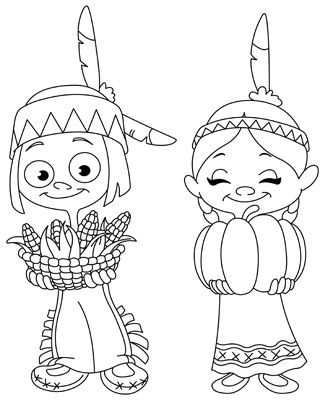 American Indian Boy And Girl Coloring Page Thanksgiving Coloring